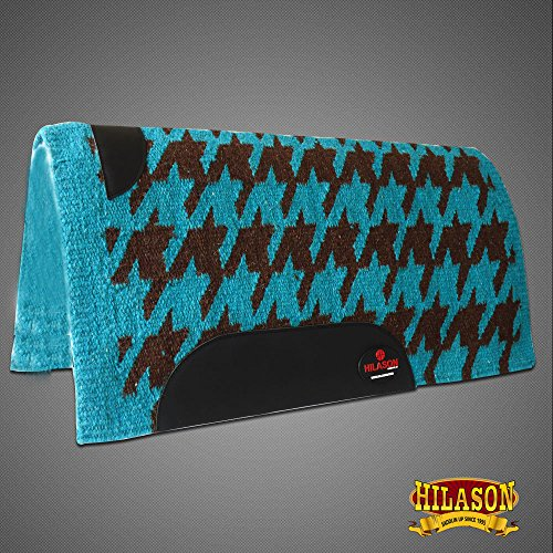 HILASON Show New Zealand Wool Saddle Blanket Western Turquoise Brown