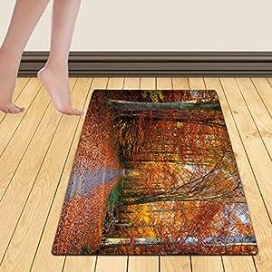 WelFriday custom door mats 111888776 Pathway through the autumn forest,W24 x L40 inch