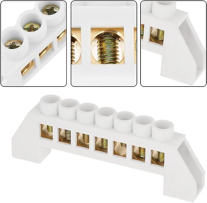 10 Piezas 10 Hoyos Barra de Tierra,Barra Terminales Barra de Bloque de Terminales Hecho de Material de Lat/ón para Caja de Distribuci/ón PE30,Armario de Distribuci/ón,Caja de Iluminaci/ón