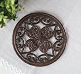 Cast Iron Round Trivet with Vintage Pattern - Decorative Cast Iron Trivet For Rustic Kitchen Or Dining Table - 7