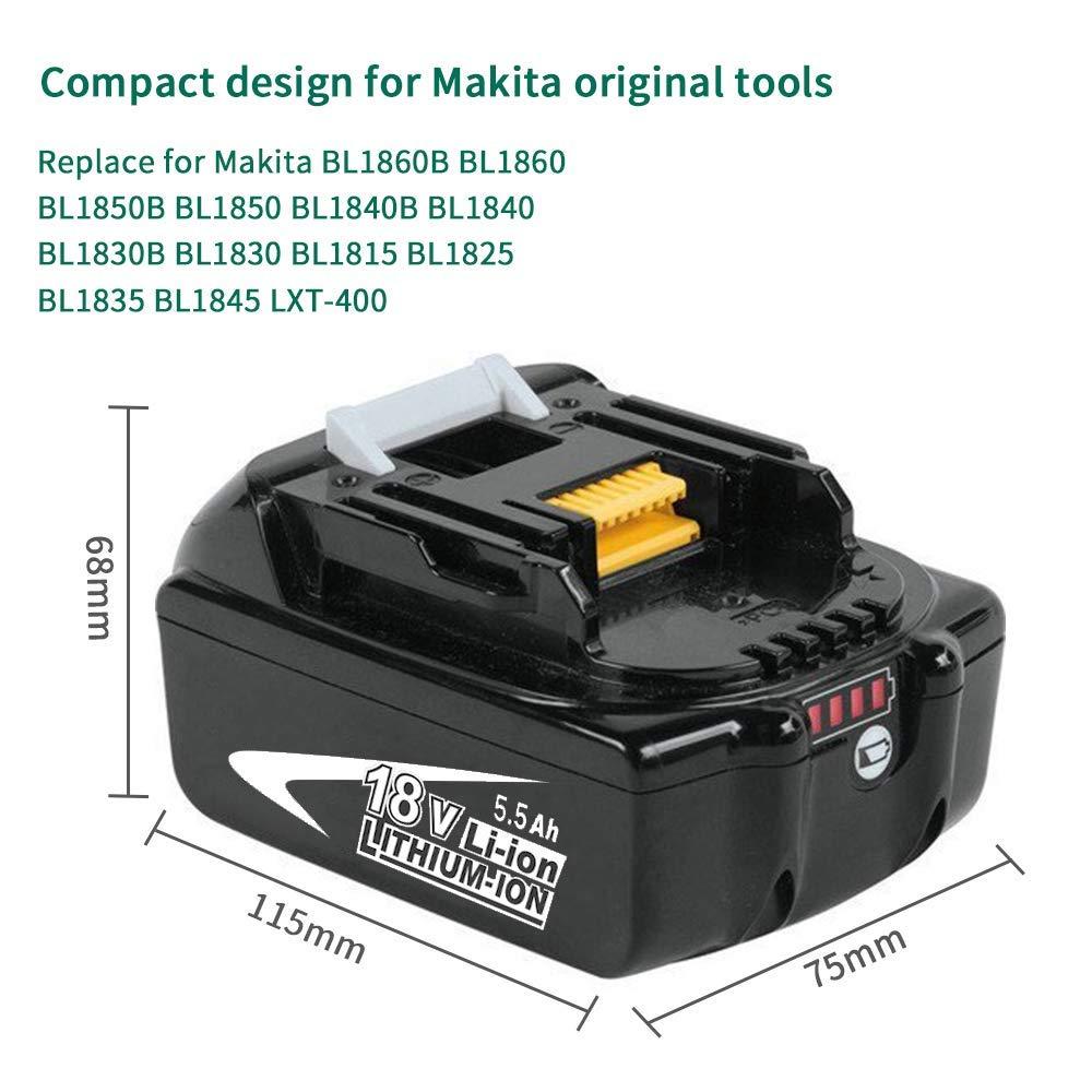 2X Powayup BL1860B 18V 5.5Ah Lithium Batteries de Remplacement pour Makita BL1860 BL1850B BL1850 BL1840B BL1840 BL1830B BL1830 BL1825 BL1835 BL1845 LXT-400 avec LED Indicateur