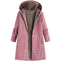 Oasisocean Women's Solid/Plaid Print Pockets Vintage Oversize Winter Warm Hooded Cardigan Jacket Overcoat Outwear Coat