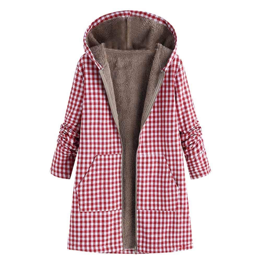 Senoly Frauen Outwear Winter Warm Outwear Zipper Plaid Print Tasche Vintage Übergröße Mantel