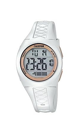 Calypso - Reloj digital unisex con LCD Pantalla Digital Dial y correa de plástico color blanco K5668/1: Amazon.es: Relojes