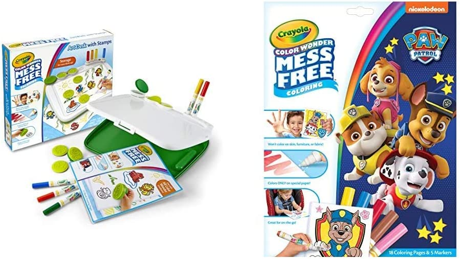 Crayola Color Wonder Mess Free Art Desk with Stamps, 20+ Pieces, Kids Toys & Paw Patrol Color Wonder, Mess Free Coloring Pages & Markers, Toddler Stocking Stuffers
