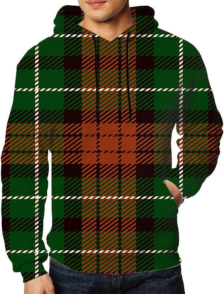 Tartan Trendy Mens Unisex Hoodies Sweatshirt Pullovers Tracksuit