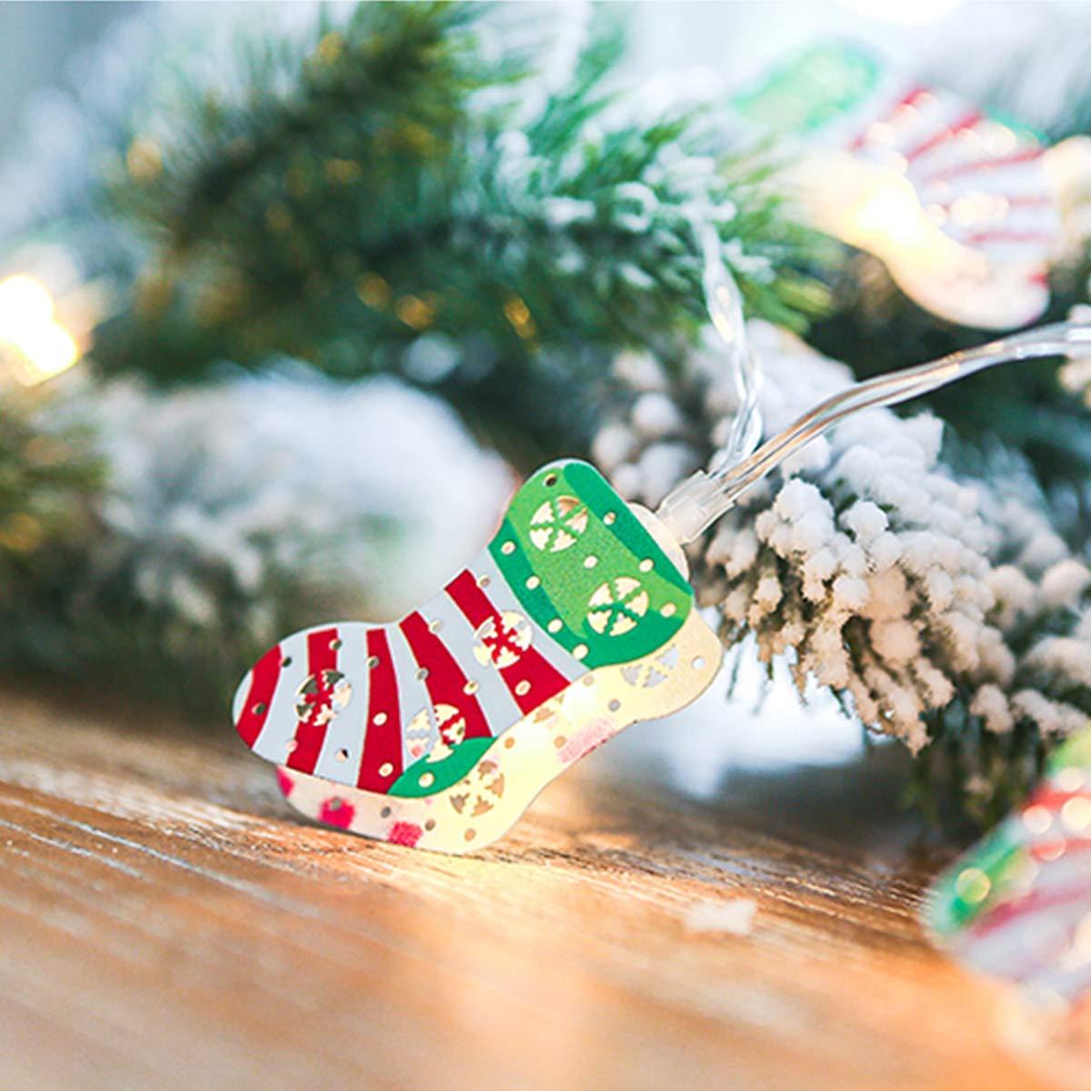 Pertaka Luci della stringa della lanterna del calzino di Natale, Luci a Led per Lanterne in Metallo 3D Mini Sock Lantern Luci a gabbia a batteria Luci di Natale per interni / esterni / cortile  (Colorato, 2M 20Light)