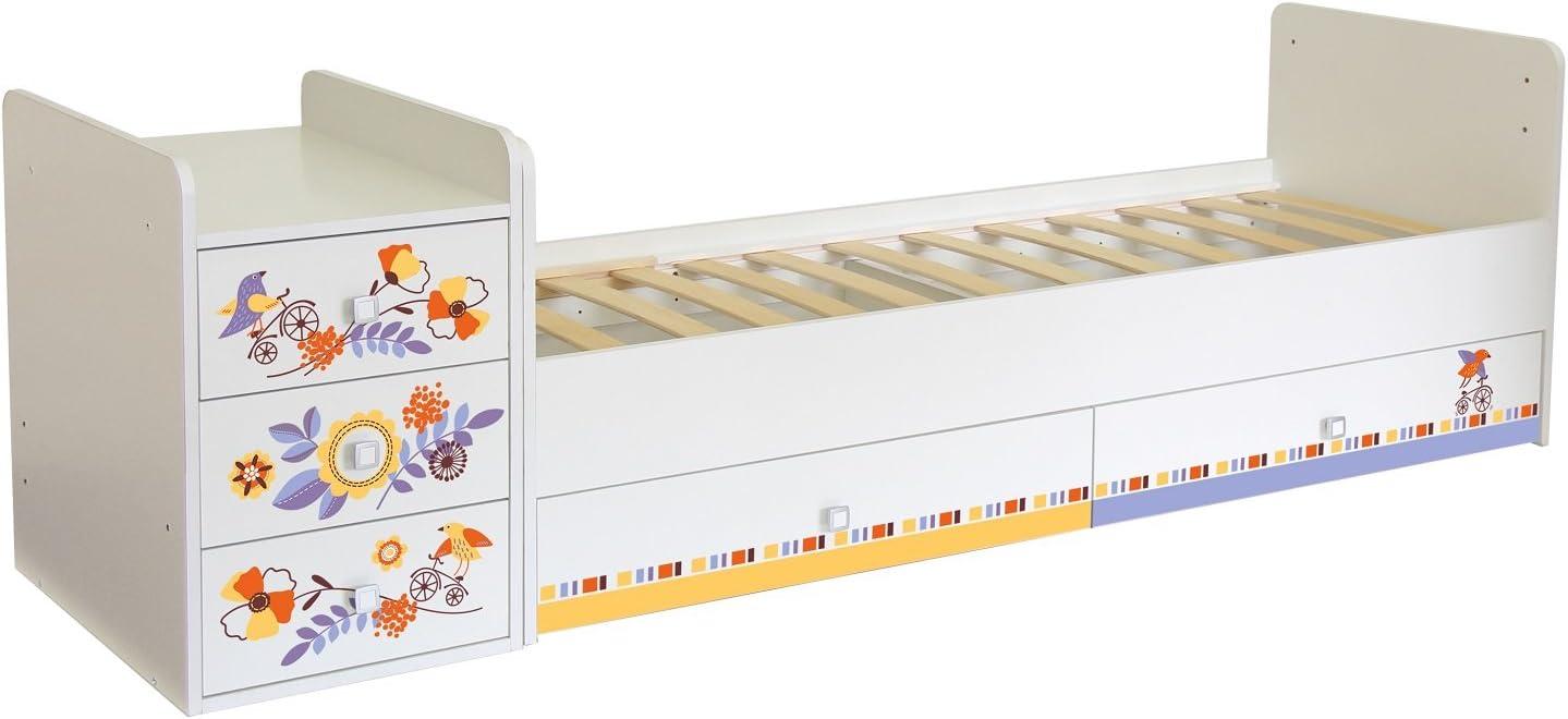Polini Kids Cama combinada infantil extensible sencilla 1100 con dise/ño dise/ño 4