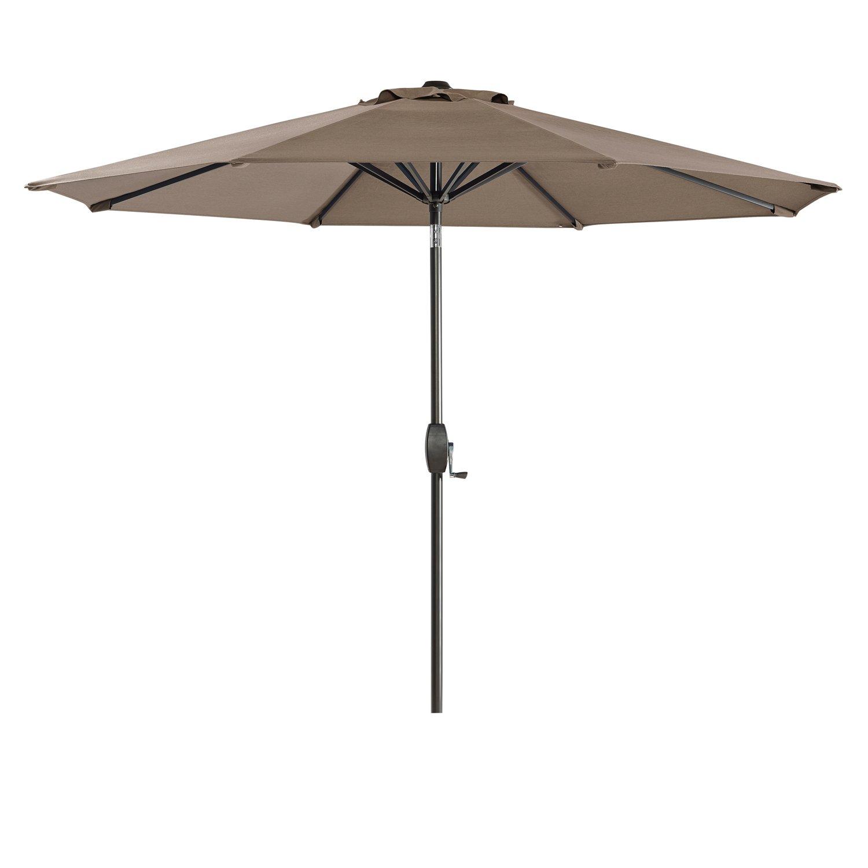 Ulax Furniture Sunbrella 9 Ft Outdoor Umbrella Patio Market Umbrella Aluminum with Push Button Tilt Crank Taupe