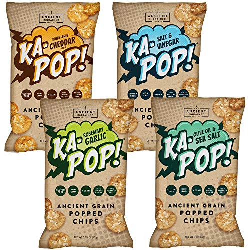 Ka-Pop! Popped Chips, Variety Pack (3.25oz, Pack of 4) - Allergen Friendly, Ancient Grains, Gluten-Free, Paleo, Non-GMO, Vegan, Healthy, Whole Grain Snacks