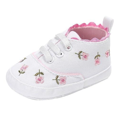 Logobeing Zapatos de Bebé 0-18 Mes Recien Nacido Niña Primeros Pasos Bordado Floral Antideslizante Suela Blanda Zapatillas