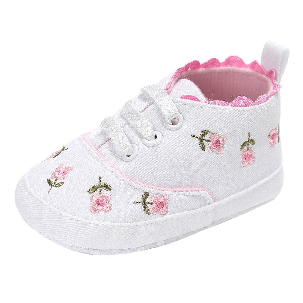 CYCTECH Newborn Baby Girls Floral Crib Shoes Canvas Anti-Slip First Walkers Sneakers (0~6 Month, White)