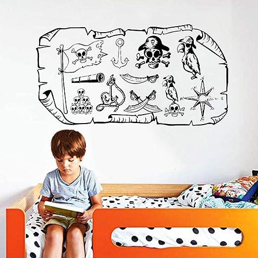 Tatuajes de pared Mapa del pirata Treasure Gold Island Dibujos animados Niños Niña Niño Adolescente Dormitorio Calcomanía de vinilo Regalo temático pirata 108 * 57 cm: Amazon.es: Bricolaje y herramientas