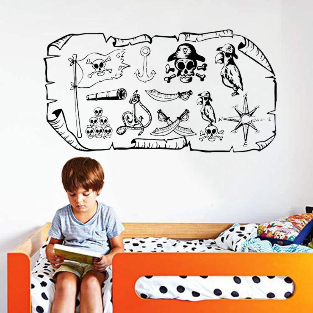 Tatuajes de pared Mapa del pirata Treasure Gold Island Dibujos ...