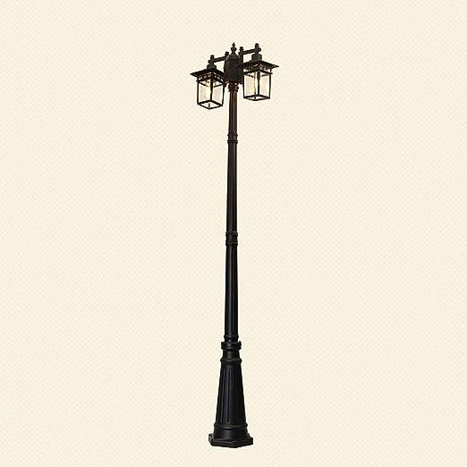 Exterior Farola negra 2 luces E27 Exterior Aluminio y Vidrio Pantalla Luminaria de mástil 224 cm de alto Impermeable IP44 Luz de jardín Césped Lámpara de pedestal Villa Landhau Lámpara de camino: