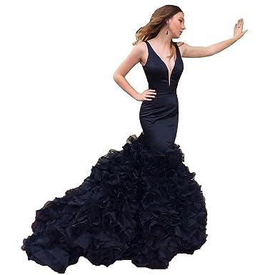 3ea575cd387f09 Dimei Sheath Deep V Neck Satin Mermaid Prom Dress Sleeveless Long Mermaid  Dress Open Back Ruffle