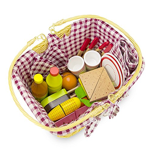 Deluxe Wooden Picnic Basket - Large 34 Piece Play Food Set!