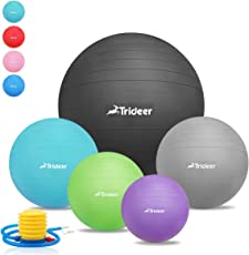 Trideer Exercise Ball (45 85cm) EXTRA THICK Yoga Ball Chair, Anti