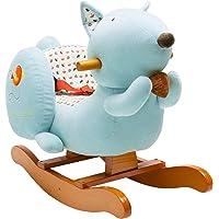 Labebe Child Rocking Horse Toy, Stuffed Animal Rocker Toy, Blue Squirrel Plush Rocker Toy for Kid 1-3 Years, Wooden…