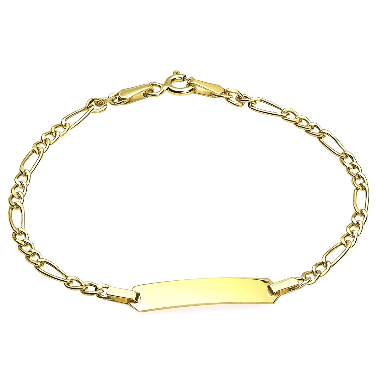 14k Yellow Gold 2.4mm Figaro Baby ID Bracelet Engravable (6) by Jewelry by Debbie