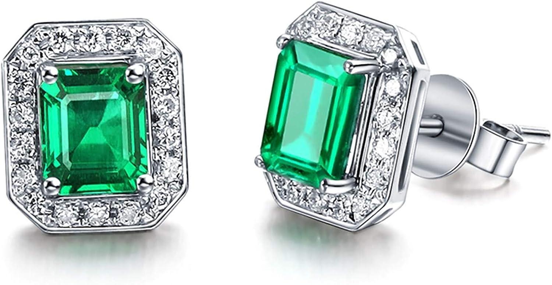 AueDsa Pendientes Oro Blanco Pendientes Oro Blanco 18 Kilates Mujer Rectángulo Diamante Esmeralda Verde Blanca 1.27ct