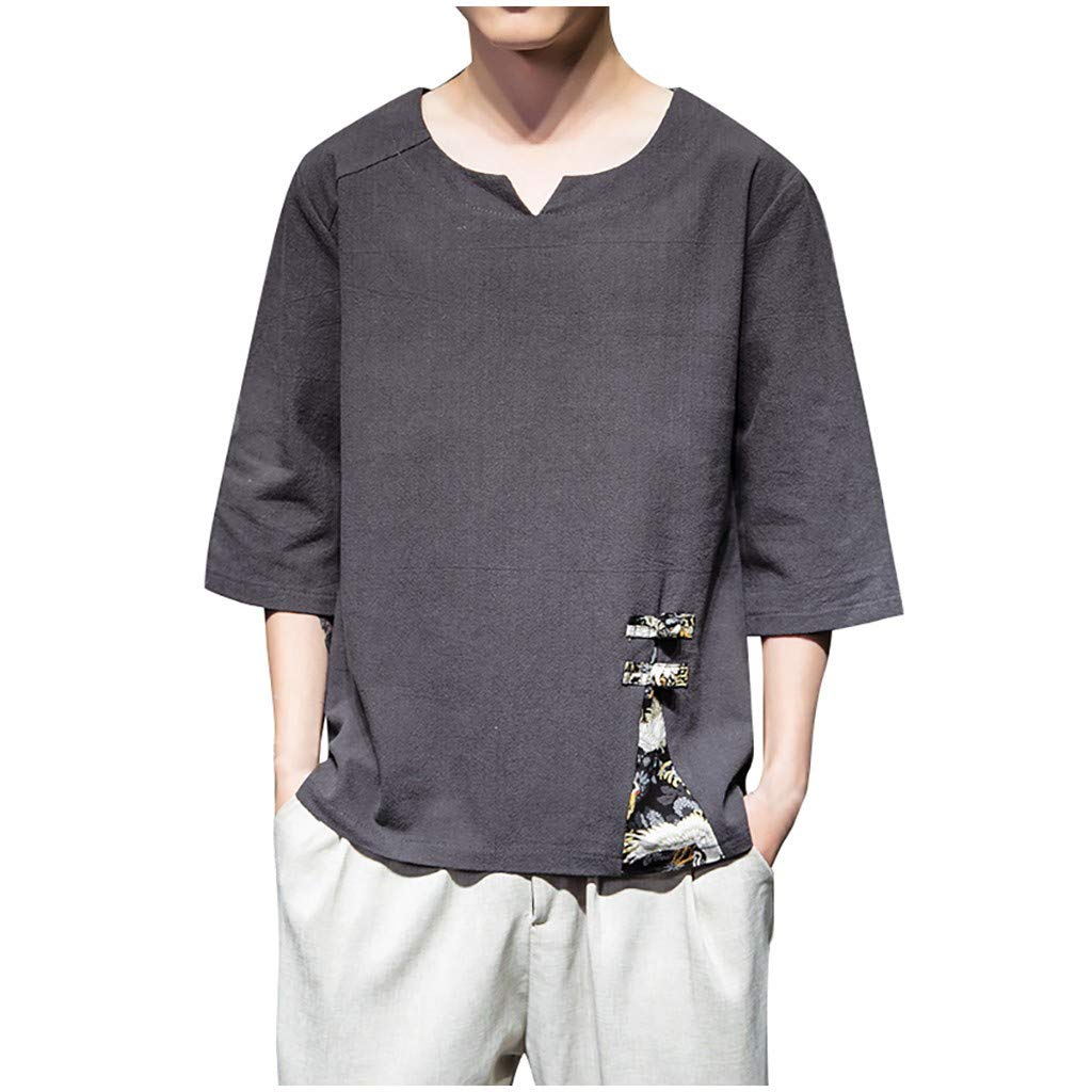 Beautyfine Mens Linen Shirts Casual Short Sleeve Solid Color Crew Neck Loose T Shirt Blouse Tops