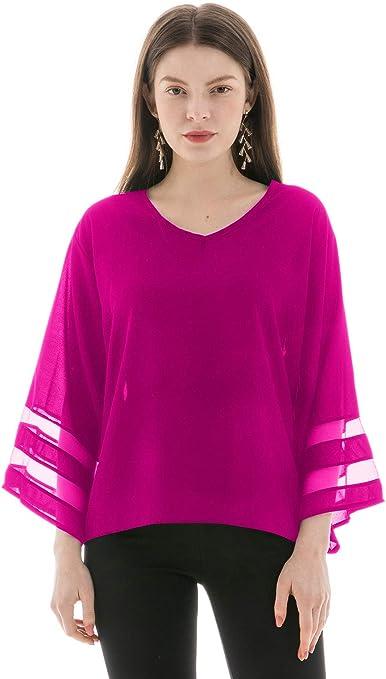 Blusas para Mujer, Escote Pico y Manga Larga Amplia, Camisas Mujer Casual fluida, Magenta, M: Amazon.es: Ropa y accesorios