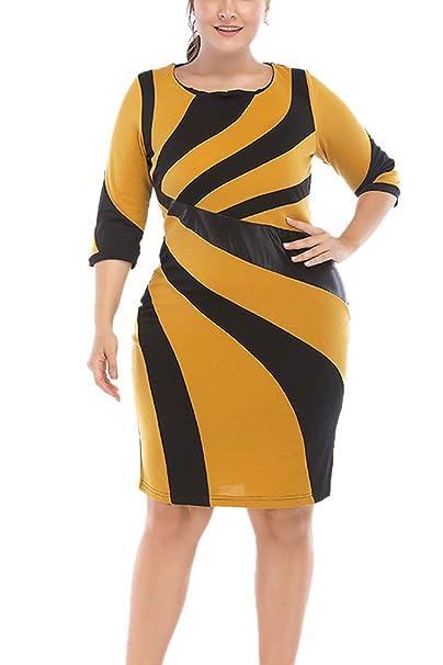 Yacun Trabajo Mujeres Lápiz Vestido Color Negro Plus Tamaño Vestidos De Fiesta Amarillo 3XL