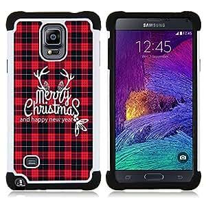/Skull Market/ - Merry Christmas Tree Green Red Deer Snow Winer For Samsung Galaxy Note 4 SM-N910 N910 - 3in1 h????brido prueba de choques de impacto resistente goma Combo pesada cubierta de la caja protec -