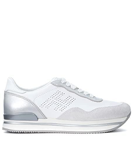 Hogan Women s H222 White and Silver Leather Sneakers  Amazon.co.uk  Shoes    Bags a2121bfbeb0