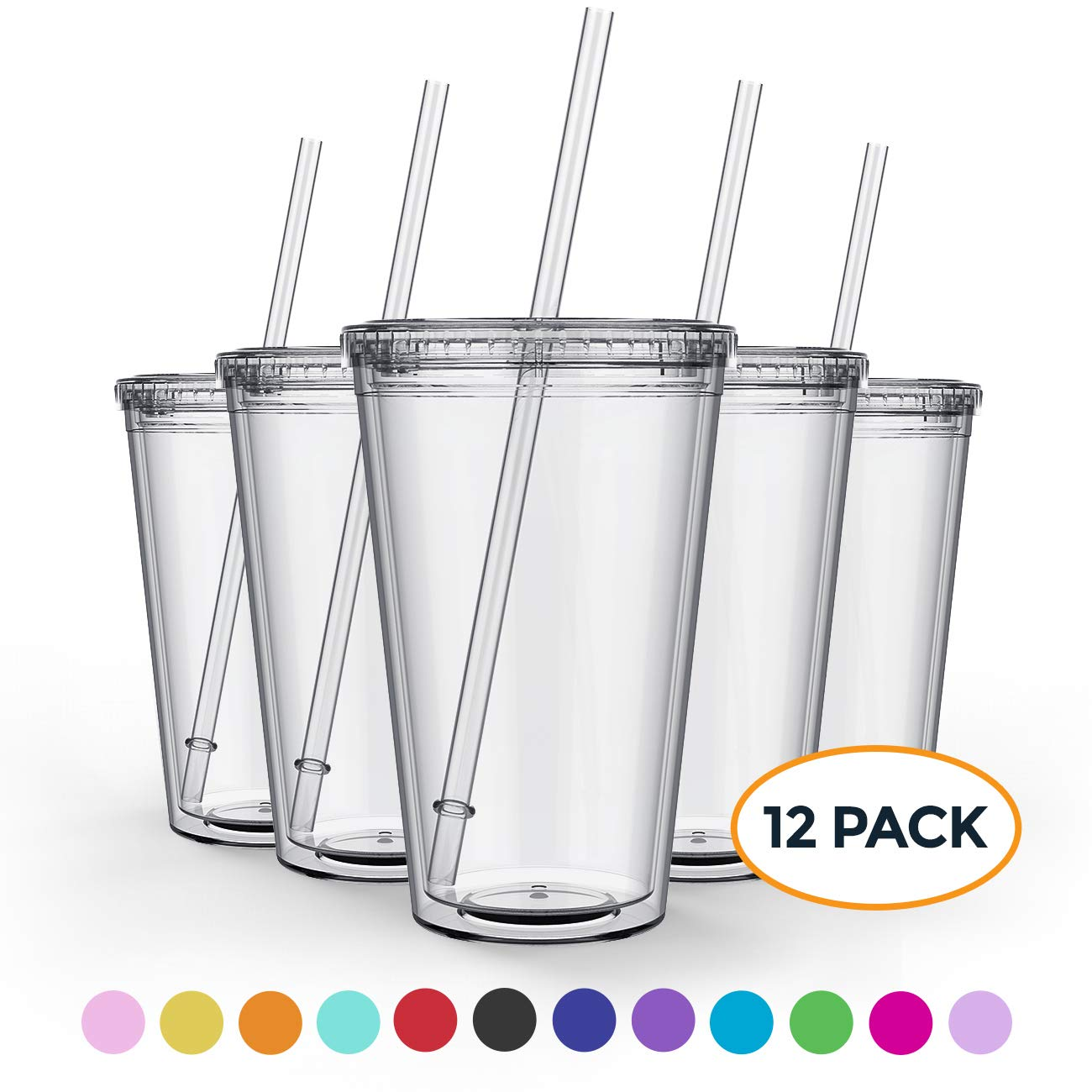 Maars Clear Classic Insulated Tumblers 16 oz. | Double Wall, Reusable Plastic Acrylic | Perfect for Parties, Birthdays, Customization - 12 Pack Bulk