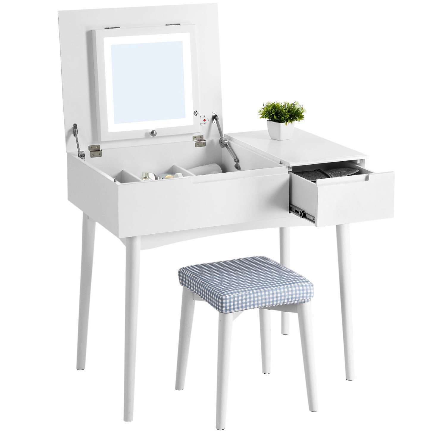 SONGMICS Vanity Table Set with Dimmable LED Lights and Flip Top Mirror Makeup Dressing Table with Large Sliding Drawers Cushioned Stool White URDT20W