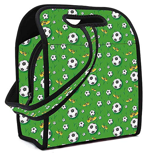 Soccer Portable Neoprene Lunch Bag,Professional Player Athletics Pattern Football Shoes Balls on Grass Decorative for Work Office Picnic Travel Mom Bag,Square(8.5''L x 5.5''W x 11''H)