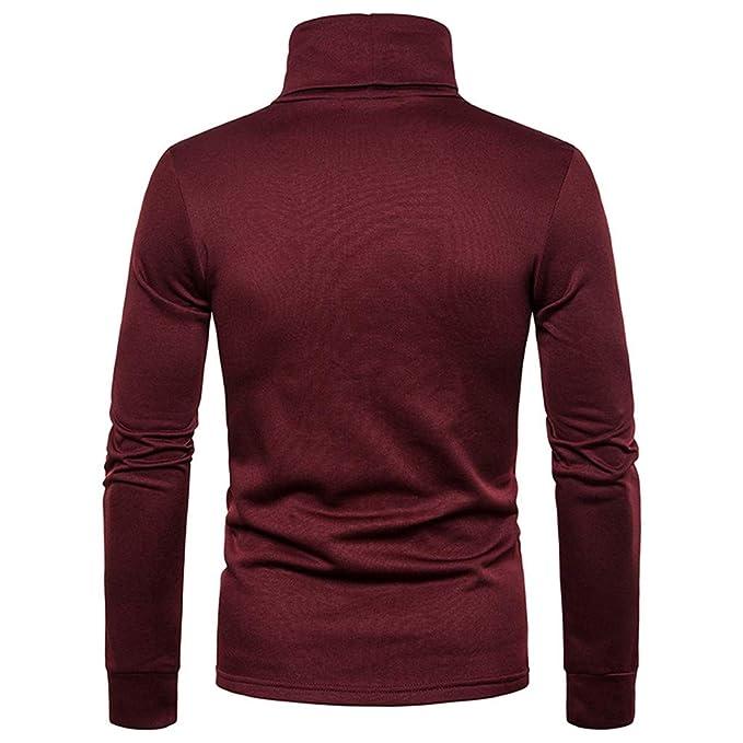 Luckycat Camiseta con Cuello Alto Slim Fit para Hombre Camiseta de ...