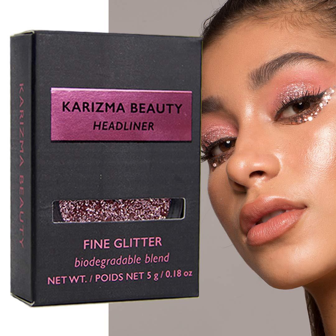 Headliner Glitter Eyeshadow Biodegradable // Karizma Beauty Baby Pink Bio Glitter Eco Glitter Face Glitter Loose Eyeshadow