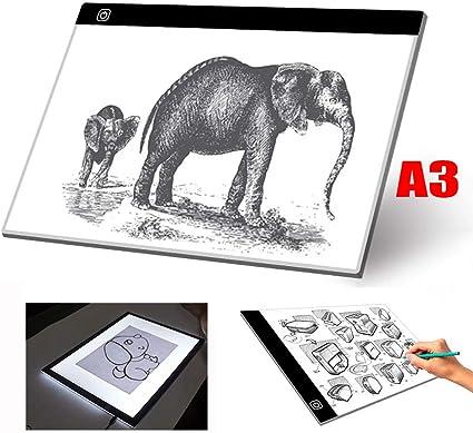 H&T Caja De Luz De Seguimiento A3, Almohadilla De Luz con Alimentación De CA USB Brillo Ajustable De 3 Niveles Caja De Luz LED Portátil Ultrafina para Dibujar Bocetos Animación Y 5D