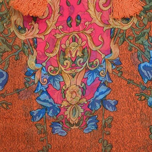 Kleid - TOOGOO(R) Frauen Chiffon Hemd Blume-Druck beilaeufig Bluse Oberteil Kleid rosa rot L
