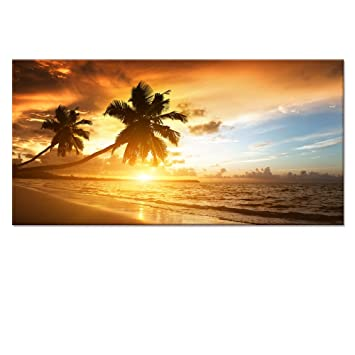 Amazon.com: Gold Seascape Canvas Wall Art, Beach Canvas Prints with ...