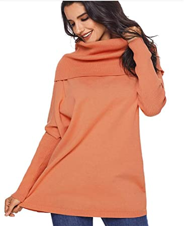Jersey Cuello Alto Mujer Primavera Camisa Mujer Raya Cuello Redondo Manga Larga Suelto Blusa Casual Otoño Shirt Top Negro Naranja Caqui (S-XXL),C,XXL: Amazon.es: Hogar