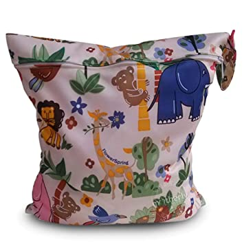 Baby Waterproof Zipper Bag Washable Reusable Baby Cloth Diaper Bag(Animal Flower) Baby Products