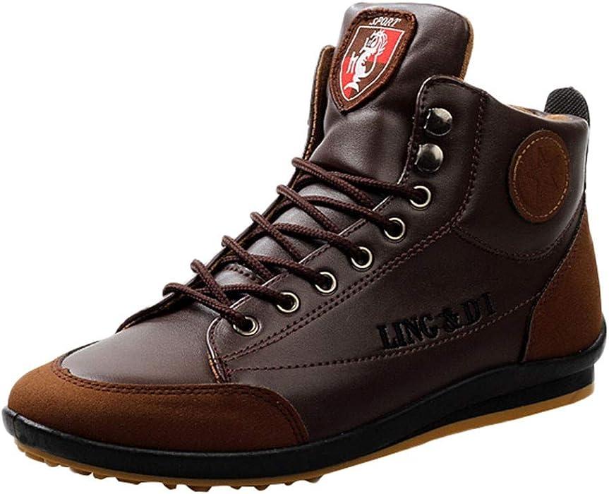 cbb7ede726085b ... Freizeitschuhe British Style Vintage Schuhe Klassische Stiefelette aus  Leder mit Wollfutter und Gummisohle Herren Blockabsatz Profilsohle Worker  Boots