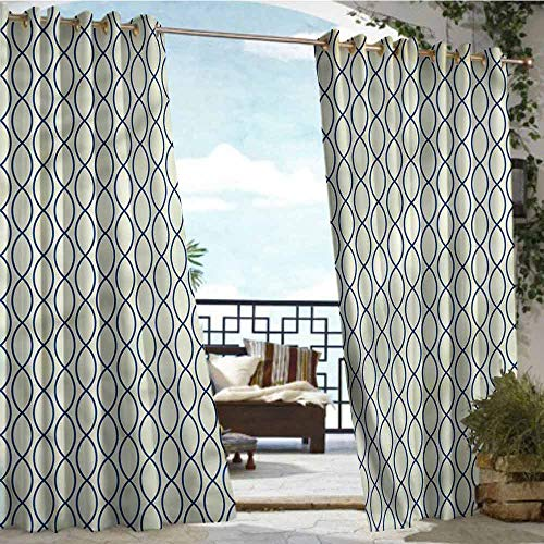 crabee Balcony Curtains Abstract,Fishing Net Lattice,W72 xL96 Outdoor Patio Curtains Waterproof with Grommets from crabee