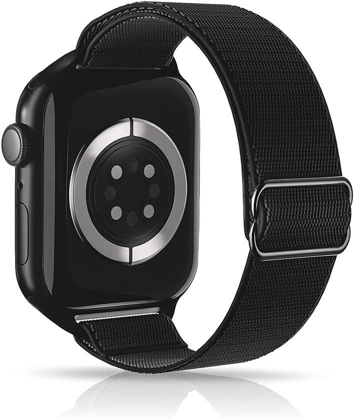 ARCEED Adjustable Stretchy Bands Compatible with Apple Watch Band 38mm 40mm 42mm 44mm,Women Men Elastic Sport Solo Loop Nylon Wristbands for iWatch Series SE/6/5/4/3/2/1(Black,42/44mm)