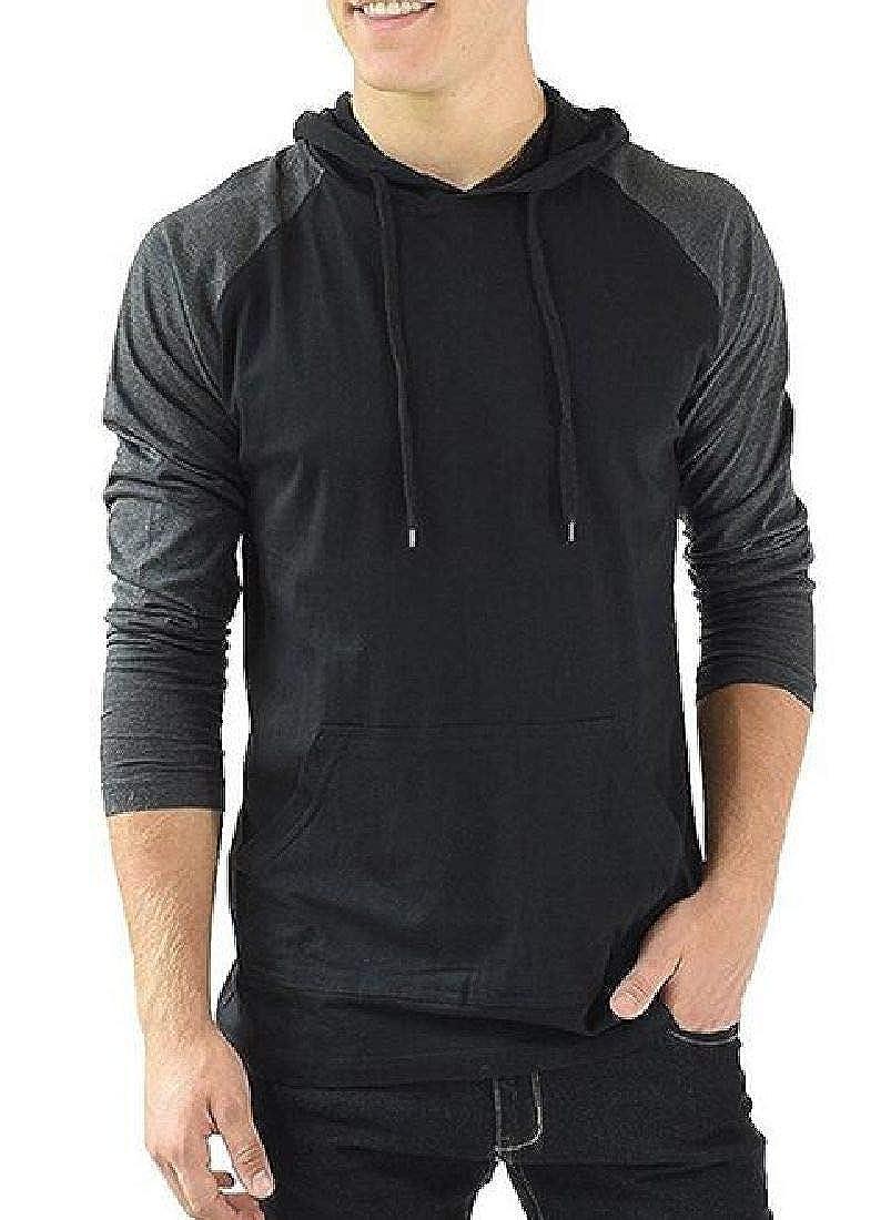 UUYUK Men Stitching Color Block Fashion Pullover Casual Hoodies Sweatshirt