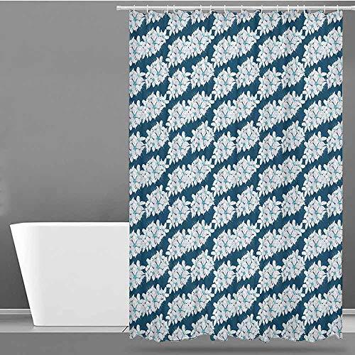 VIVIDX Bathroom Shower Curtain,Cherry Blossom,Flourishing Seasonal Flowers on Blue Backdrop Romantic Spring Ornament,Bathroom Curtain Washable Polyester,W72x84L Blue Aqua White
