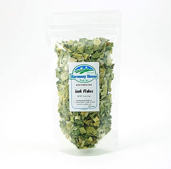 Harmony House Foods Dehydrated Leek Flakes - Air Dried Vegetables for Soup and Cooked Dishes, Great for Camping, Survival, and Backpacking