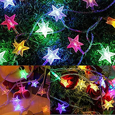 Colored LED String Lights Indoor Outdoor Weatherproof Christmas Light Strands with Socket Connector,33 ft 50 LEDs Wire Light for Patio Garden Bedroom Holiday Home Decorating,8 Modes Control …