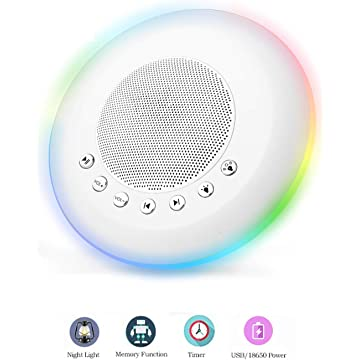 Sound Machine - White Noise Machine for Sleeping, with LED Colorful Night Light 20 Soothing HiFi Sounds, Continuous or Timer, Rechargeable Battery or USB Output Charger
