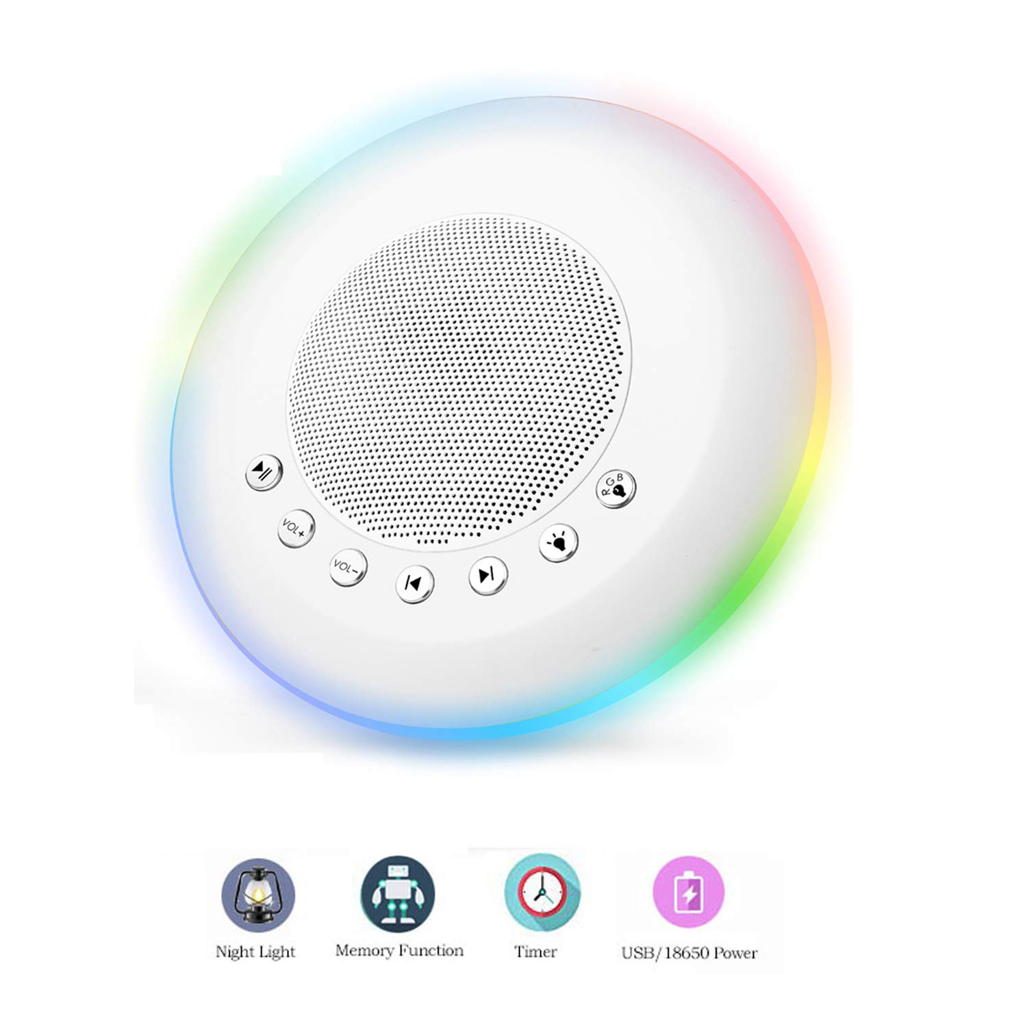 Sound Machine – White Noise Machine for Sleeping, with LED Colorful Night Light 20 Soothing HiFi Sounds, Continuous or Timer, Rechargeable Battery or USB Output Charger