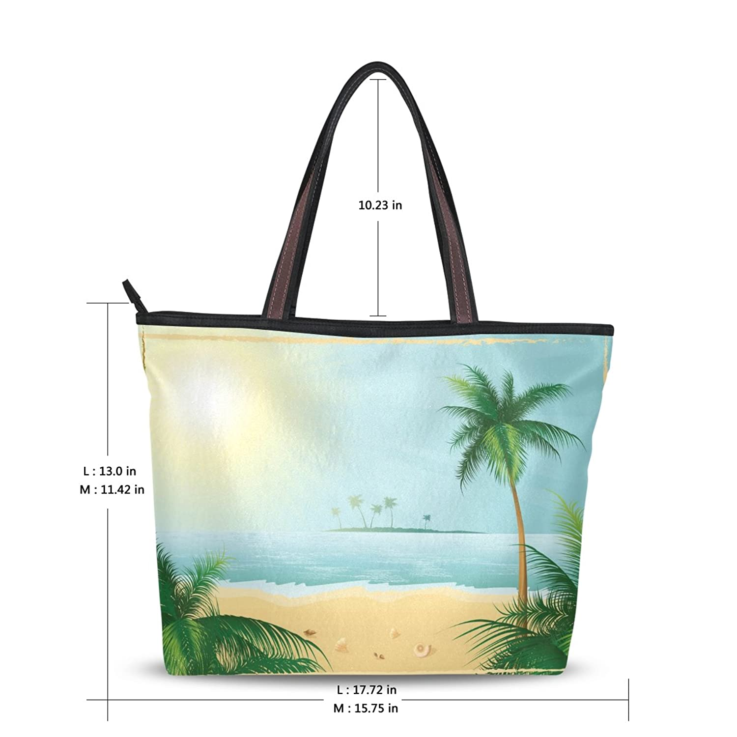 Women Large Handbag Shoulder Bags,Hawaii Sea Beach Coconut Trees ,Tote Bag